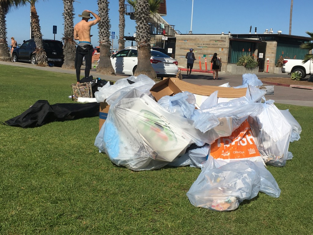 This photo shows approximately 20 pounds of trash collected during a November 2019 beach clean-up at La Jolla Shores.